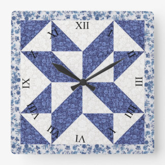 Beautiful Blue Calico Quilted Look Wallclocks