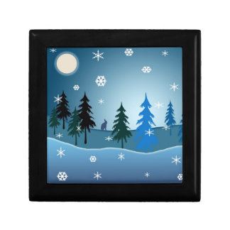 Beautiful blue christmas illustration gift box