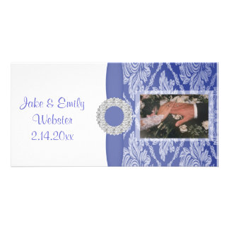 Beautiful Blue Damask Keepsake Photo Cards