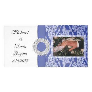 Beautiful Blue Damask Set Photo Card Template