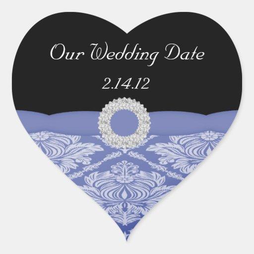 Beautiful Blue Damask Set Heart Stickers
