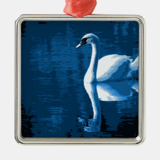 Beautiful Blue Elegant Calm River White Swan Metal Ornament