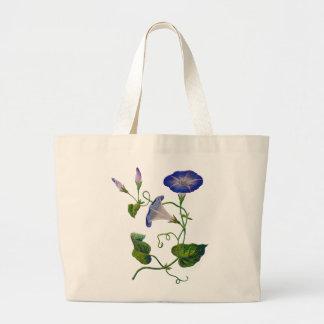 Beautiful Blue Embroidered Morning Glories Jumbo Tote Bag