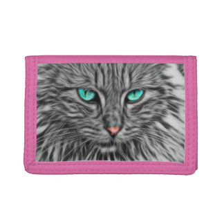 Beautiful Blue Eyes Cat Tri-fold Wallet