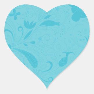 Beautiful blue floral wedding gift heart sticker