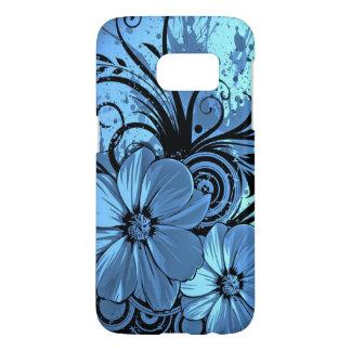 beautiful blue flowers abstract swirl vector art samsung galaxy s7 case