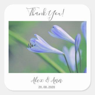 Beautiful Blue Flowers Wedding Favor Sticker
