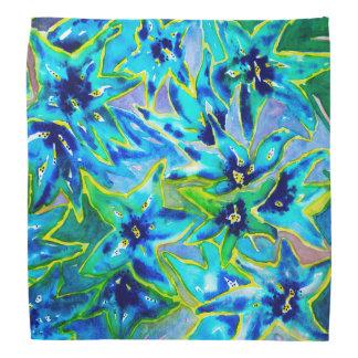 Beautiful Blue & Green Floral Watercolour Bandana
