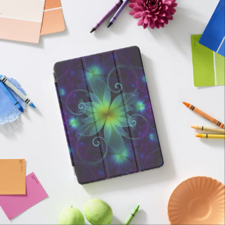 Beautiful Blue-Green Stargazer Lily Fractal Flower iPad Pro Cover