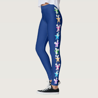 BEAUTIFUL BLUE GYMNASTICS CHEERLEADING LEGGINGS
