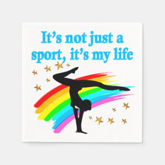 BEAUTIFUL BLUE GYMNASTICS IS MY LIFE DESIGN DISPOSABLE NAPKINS