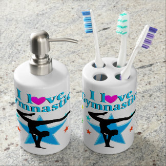 BEAUTIFUL BLUE I LOVE GYMNASTICS DESIGN SOAP DISPENSER AND TOOTHBRUSH HOLDER