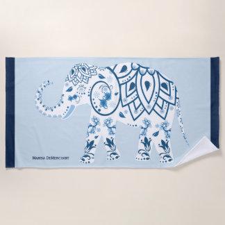 Beautiful Blue India Elephant Name Beach Towel