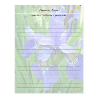 beautiful blue iris flowers custom letterhead