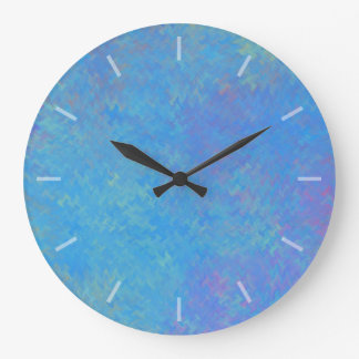 Beautiful Blue Marbled Paper Design Large Clock