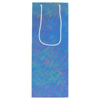 Beautiful Blue Marbled Paper Look Wine Gift Bag
