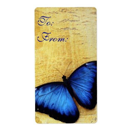 Beautiful Blue Morpho Butterfly Labels