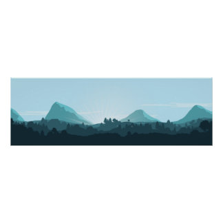 Beautiful Blue Mountainscape Poster
