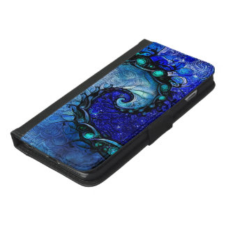 Beautiful Blue Nocturne of Scorpio Sapphire Spiral iPhone 6/6s Plus Wallet Case