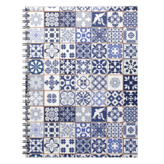 Beautiful blue notebook with Azulejos pattern