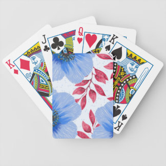 Beautiful Blue Poppy Flowers Pattern Bicycle Playing Cards