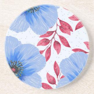 Beautiful Blue Poppy Flowers Pattern Coaster