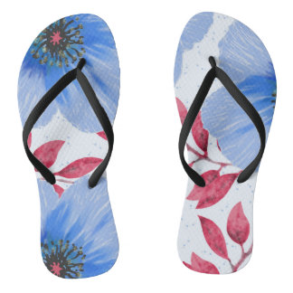 Beautiful Blue Poppy Flowers Pattern Flip Flops