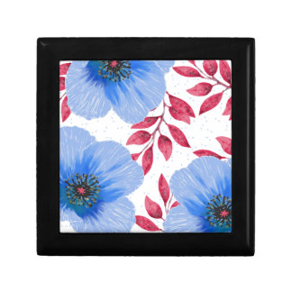 Beautiful Blue Poppy Flowers Pattern Gift Box