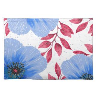 Beautiful Blue Poppy Flowers Pattern Placemat