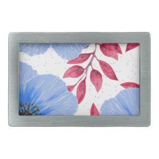 Beautiful Blue Poppy Flowers Pattern Rectangular Belt Buckles
