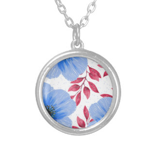 Beautiful Blue Poppy Flowers Pattern Silver Plated Necklace