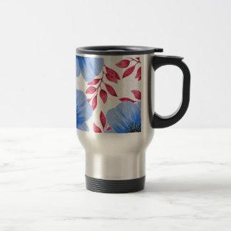 Beautiful Blue Poppy Flowers Pattern Travel Mug
