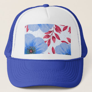 Beautiful Blue Poppy Flowers Pattern Trucker Hat