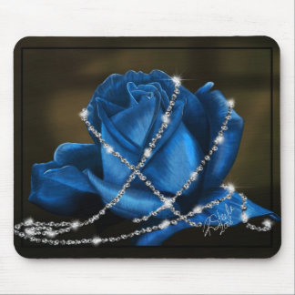 beautiful blue rose and diamonds mouse pad