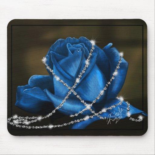 beautiful blue rose and diamonds mouse pads   Zazzle
