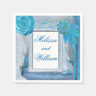 Beautiful Blue Rustic Wedding Disposable Napkin