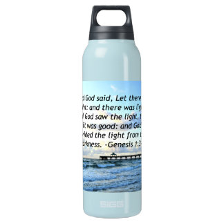 BEAUTIFUL BLUE SKIES GENESIS 1:3 PHOTO DESIGN INSULATED WATER BOTTLE