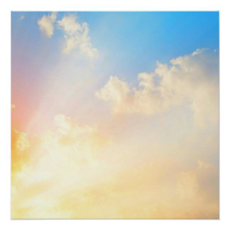 Beautiful Blue Sky with Clouds, Nature's Beauty Poster