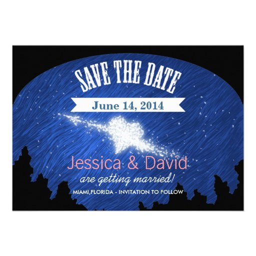 Beautiful Blue Starry Night Save the Date Cards