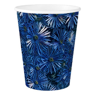 Beautiful Blue Stylized Flowers Paper Cup