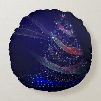 Beautiful Blue Tree Round Pillow