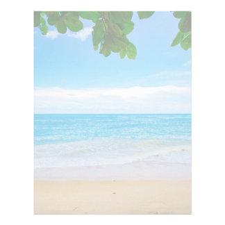 Beautiful Blue Tropical Beach Letterhead