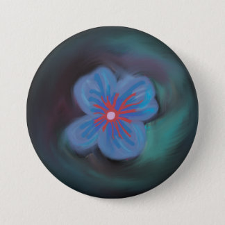 Beautiful Blue Watercolor Floral Art Button