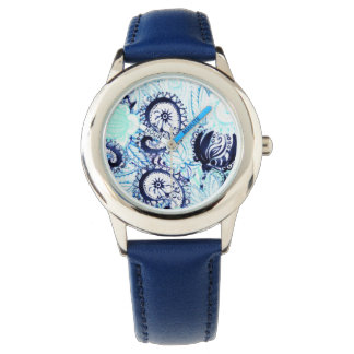 Beautiful Blue Watercolor Paisley Print Wrist Watch