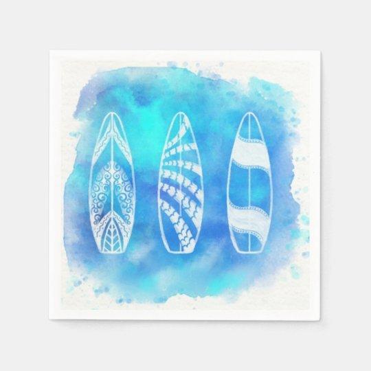 Beautiful Blue Watercolor Water Surfboards art Paper Napkins