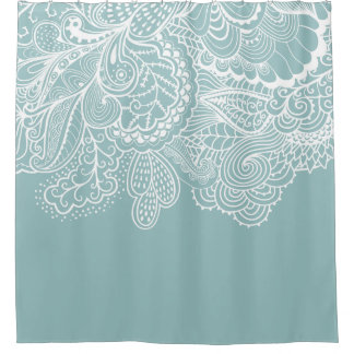 Beautiful Blue & WhiteVintage Lace shower Curtain