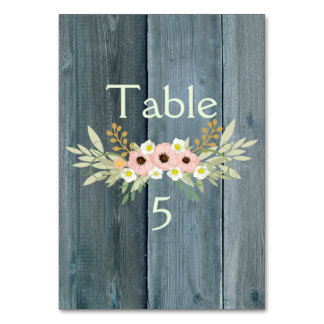 Beautiful blue wood floral table card
