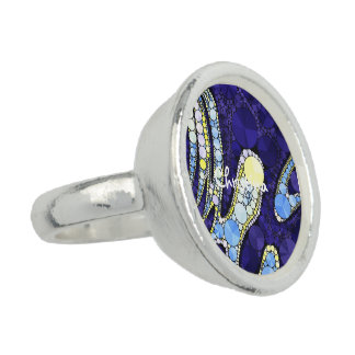 Beautiful Blue Yellow Bling Abstract Rings