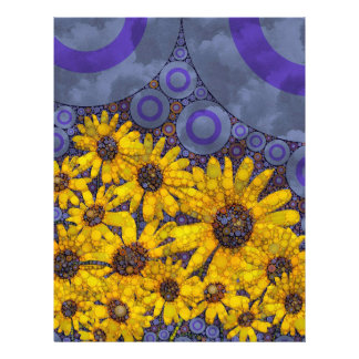 Beautiful Blue Yellow Sunflowers Abstract Letterhead Template