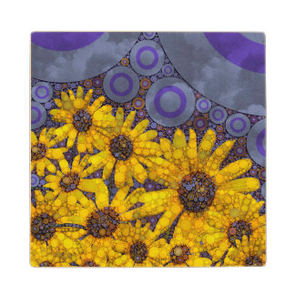 Beautiful Blue Yellow Sunflowers Abstract Maple Wood Coaster